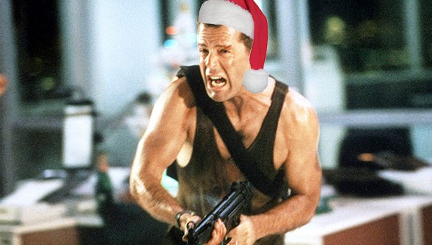 Bruce Willis in Die Hard wearing santa hat