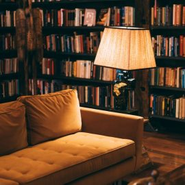 sofa and lamp in a library